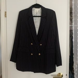 H&M pinstripe blazer with gold buttons